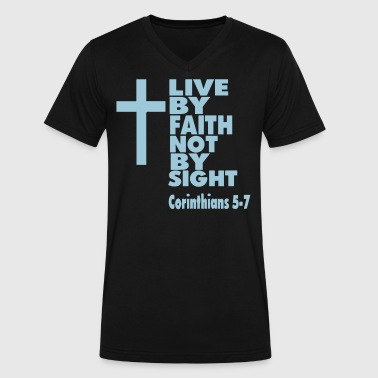 Live By Faith Not By Sight LIVE BY FAITH NOT BY SIGHT - Men's V-Neck T-Shirt by Canvas