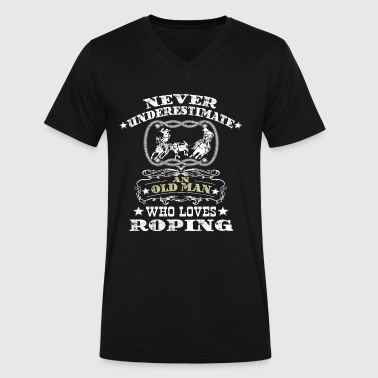 Team Roping An Old Man Who Loves Roping. - Men's V-Neck T-Shirt by Canvas
