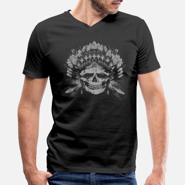 Skull Chief Skull Gray - Men's V-Neck T-Shirt by Canvas