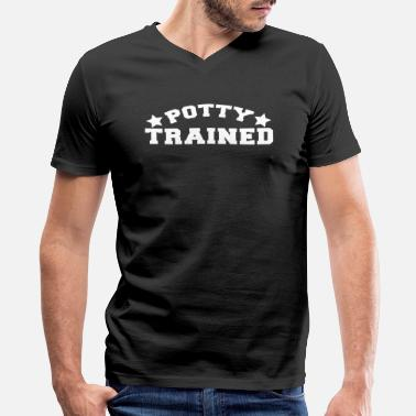 Trained potty trained in funky college font - Men's V-Neck T-Shirt by Canvas