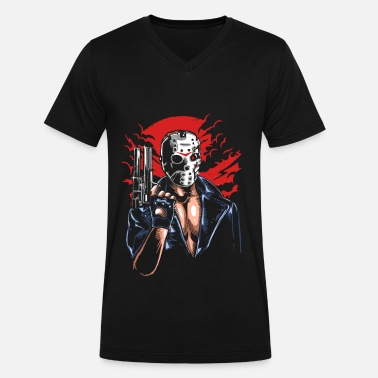 Friday Jason Friday the 13th Hockey Mask Jason - Men's V-Neck T-Shirt by Canvas