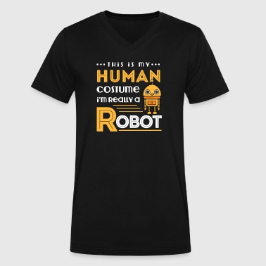 Robot Human Costume - Men's V-Neck T-Shirt by Canvas
