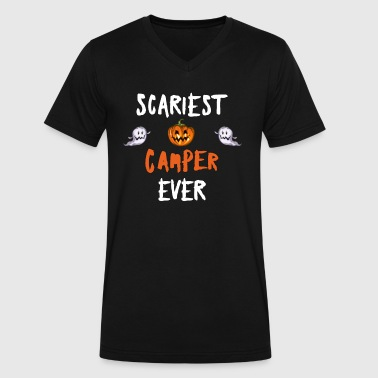 Scariest Scariest Camper Ever Ghosts Camping Halloween - Men's V-Neck T-Shirt by Canvas