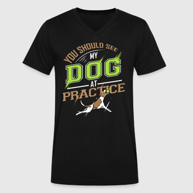 You Should See My Dog At Practice - Men's V-Neck T-Shirt by Canvas