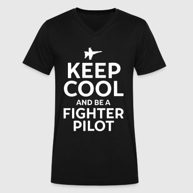 F22 Keep Cool and Be a Fighter Pilot - Men's V-Neck T-Shirt by Canvas