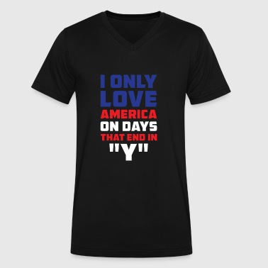 I only love America on days that end in Y - Men's V-Neck T-Shirt by Canvas
