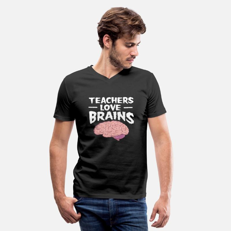 Halloween T-Shirts - Teachers Love Brains - Halloween Gift - Men's V-Neck T-Shirt black