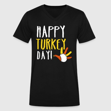 THANKSGIVING happy turkey day - Men's V-Neck T-Shirt by Canvas