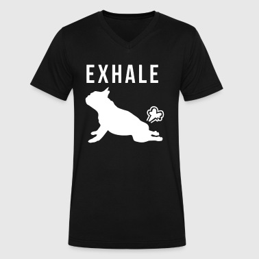 Exhale Yoga Exhale French Bulldog Yoga - Men's V-Neck T-Shirt by Canvas