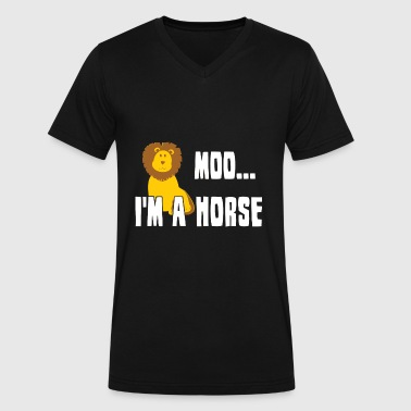 Crazy Frankenstein Moo i'm a horse, funny lion - Men's V-Neck T-Shirt by Canvas