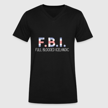 Full Blood Logo - f.b.i - full blooded icelandic - funny ic - Men's V-Neck T-Shirt by Canvas