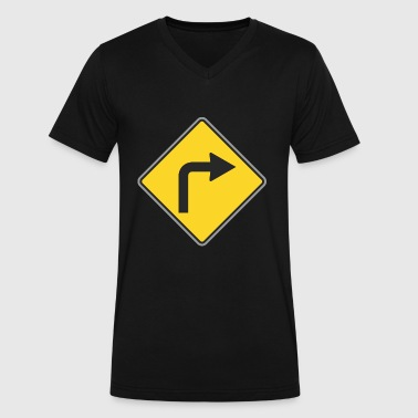Road Signs Road_Sign_to_right_yellow - Men's V-Neck T-Shirt by Canvas
