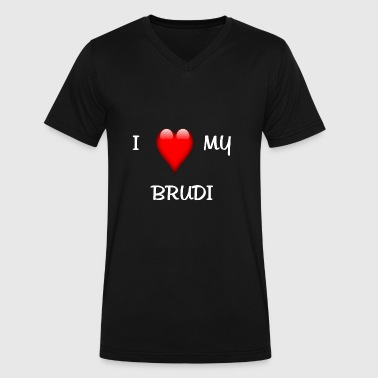I Love My Brudi - Men's V-Neck T-Shirt by Canvas