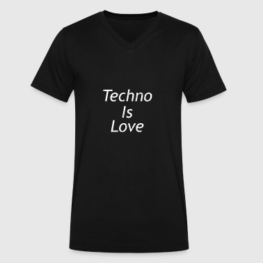 Avide Love Techno Is Love Music Vintage DJ - Men's V-Neck T-Shirt by Canvas