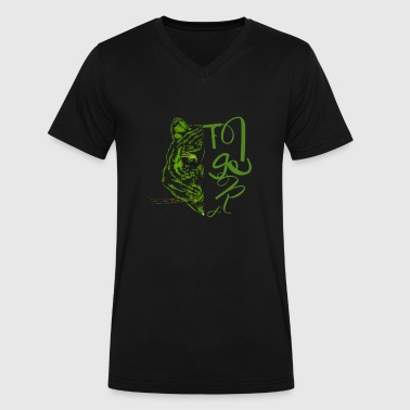 Symmetric Symmetrical tiger in green concept - Men's V-Neck T-Shirt by Canvas