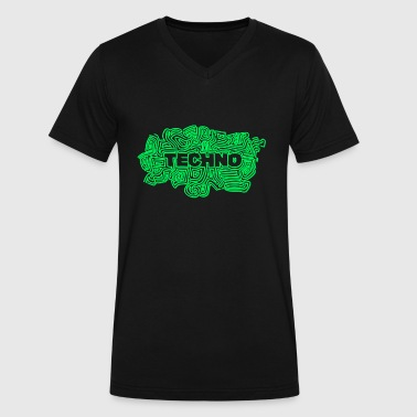 Neon Techno Techno Psy - Men's V-Neck T-Shirt by Canvas