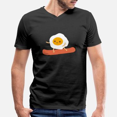 Funny Eggs And Bacon Funny Eggs and Bacon - Men's V-Neck T-Shirt by Canvas