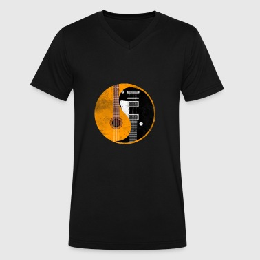 Yin Yang Guitar Yin Yang Acoustic Guitar - Men's V-Neck T-Shirt by Canvas