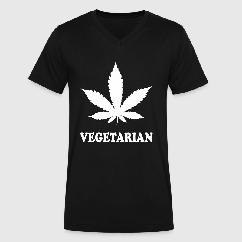 Weed Vegetarian - Men's V-Neck T-Shirt by Canvas