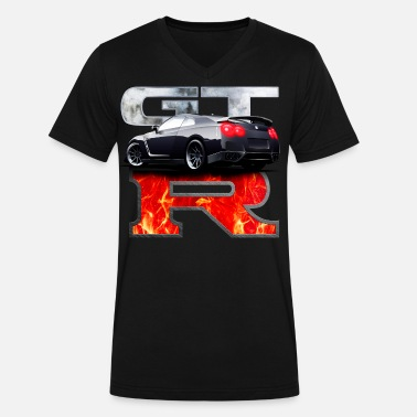 Nissan Skyline GTR In flames - Men's V-Neck T-Shirt by Canvas