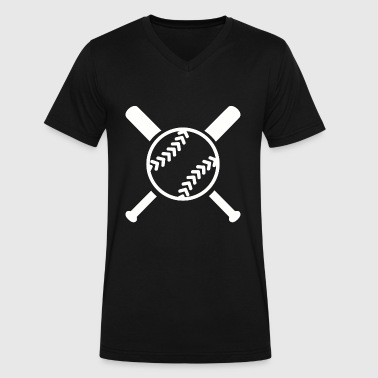 Bat And Ball Softball - Softball bats and ball - Men's V-Neck T-Shirt by Canvas