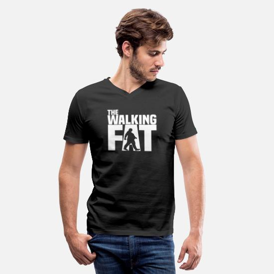 Obesity T-Shirts - The walking fat - Zombie - obese - fat - gift - Men's V-Neck T-Shirt black