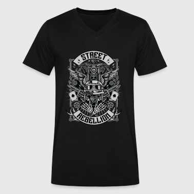 Modern Rebellion Street Rebellion motorcycle shirt  - Men's V-Neck T-Shirt by Canvas