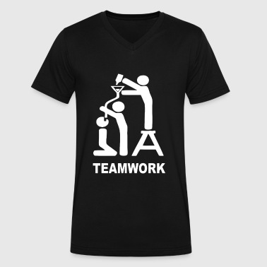 TEAM WORK - Men's V-Neck T-Shirt by Canvas