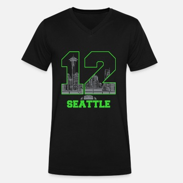 Funny Seattle Twelve seattle - twelve seattle - Men's V-Neck T-Shirt by Canvas