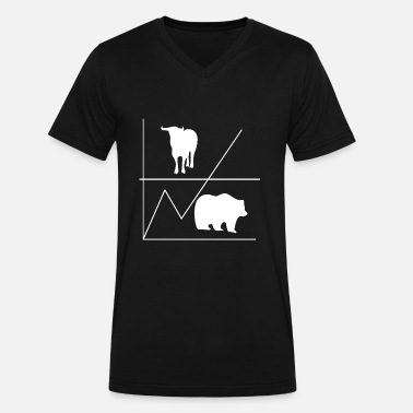 Banking Bull & Bear - Men's V-Neck T-Shirt by Canvas