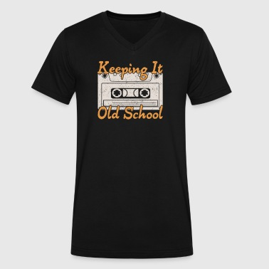 Old School Cassette Retro Cassette Keeping it Old School Music Lover - Men's V-Neck T-Shirt by Canvas