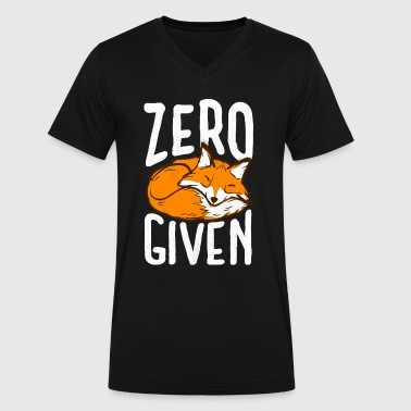 Fox Meme Funny Pun Zero Fox Given Meme Graphic Don't Care - Men's V-Neck T-Shirt by Canvas