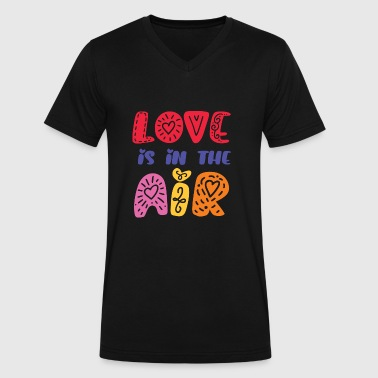 love is in the air vintage style quote - Men's V-Neck T-Shirt by Canvas