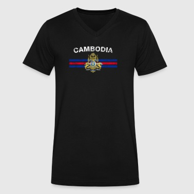 Cambodia Cambodian Flag Cambodian Flag Shirt - Cambodian Emblem & Cambodia - Men's V-Neck T-Shirt by Canvas