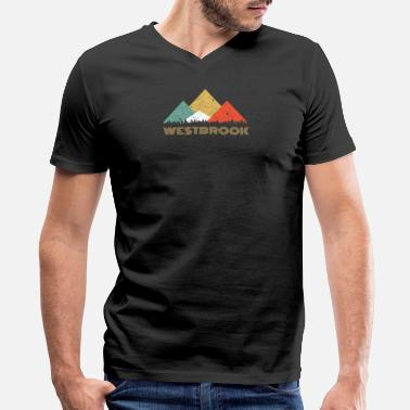 Westbrook Retro City of Westbrook Mountain Shirt - Men's V-Neck T-Shirt by Canvas