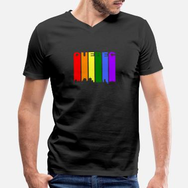 City Quebec Canada Rainbow Skyline LGBT Gay Pride - Men's V-Neck T-Shirt by Canvas