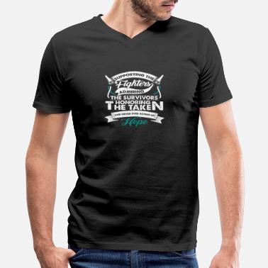 Cervical Cancer Ribbon Supporting The Fighters Cervical Cancer | Teal - Men's V-Neck T-Shirt by Canvas