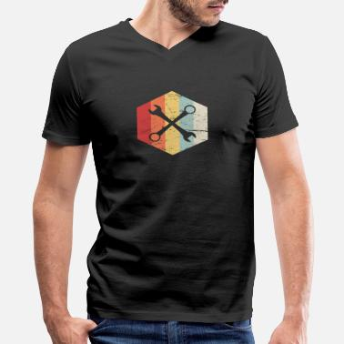 Retro Mechanic Retro 70s Mechanic Wrenches Icon - Men's V-Neck T-Shirt by Canvas