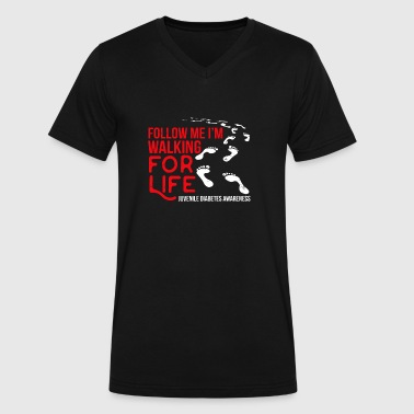 Follow Me Walking for Life - Men's V-Neck T-Shirt by Canvas