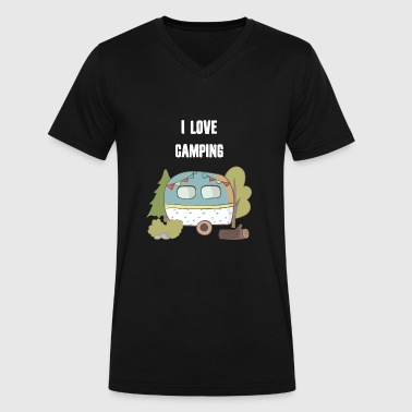 I Love Camping - Men's V-Neck T-Shirt by Canvas