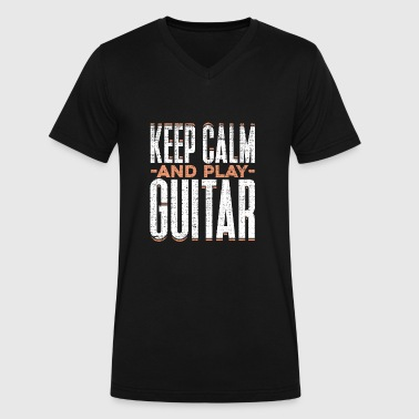 Keep Calm and Play Guitar funny Quote Gift - Men's V-Neck T-Shirt by Canvas
