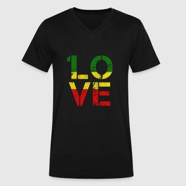 Flag Dub One Love - 1 Love Reggae Music Jamaican Gift - Men's V-Neck T-Shirt by Canvas