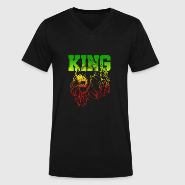 Dancehall Clothing KING - Lion Of Judah - Men's V-Neck T-Shirt by Canvas