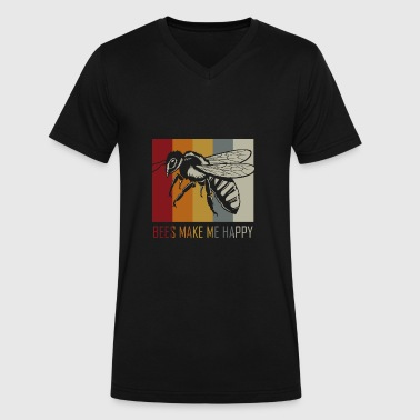 Bee Stripes Bees - Men's V-Neck T-Shirt by Canvas