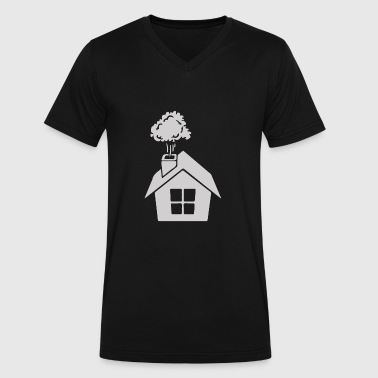 House Warming Chimney House gift ugly christmas sweater - Men's V-Neck T-Shirt by Canvas