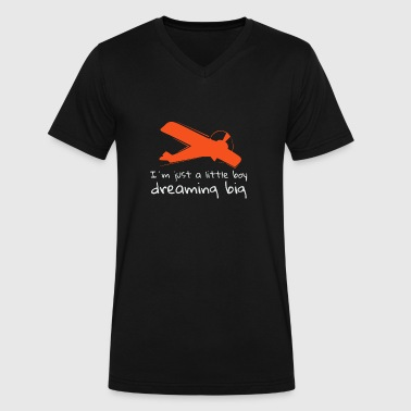 Little Boy Dreaming Big Airplane - Men's V-Neck T-Shirt by Canvas