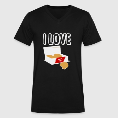 Nugget Jokes Chicken Nugget - I Love Heart Chicken Nuggets - Men's V-Neck T-Shirt by Canvas