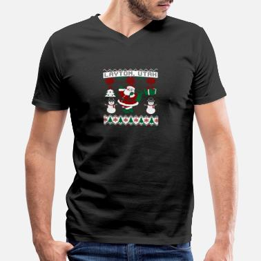Layton Christmas Ugly Sweater Layton Utah - Men's V-Neck T-Shirt by Canvas