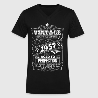 Vintage Aged To Perfection 1957 - Men's V-Neck T-Shirt by Canvas