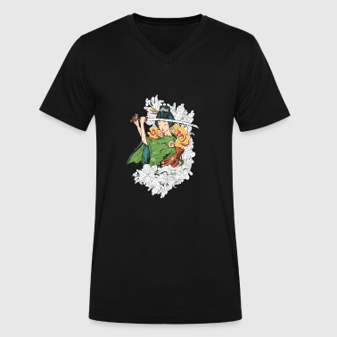 Japanese Artwork Japanese woman with Samurai sword - Men's V-Neck T-Shirt by Canvas